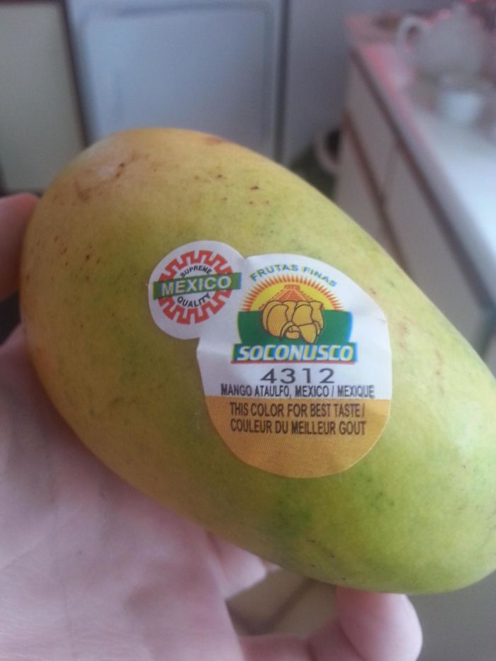 The Sticker On This Mango Shows You What Colour The Fruit Should Be When It Will Taste The Best