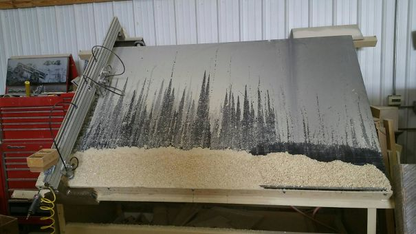 I Accidentally Painted A Snow Covered Forest With My Router Shavings