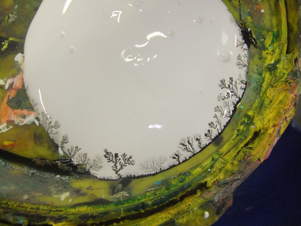The Residue Of Black Paint Mixed With My White Paint And Made A Little Forest