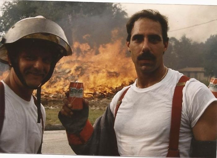 Here Is A Bad Ass Picture Of My Dad From The 80's. Gatorade In The Can Doing A Control Burn. He's The Shit And My Hero. My Grandfather Was A Firefighter Too Rip. The Real Heroes Are Firefighters, Cops And All Military!