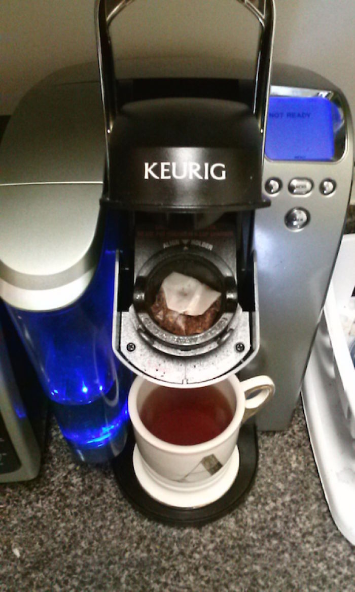 Stuff A Teabag In The Cup Compartment Of Your Keurig. I Expected It To Make A Mess; Instead, Perfectly-Steeped Tea In 10 Seconds!