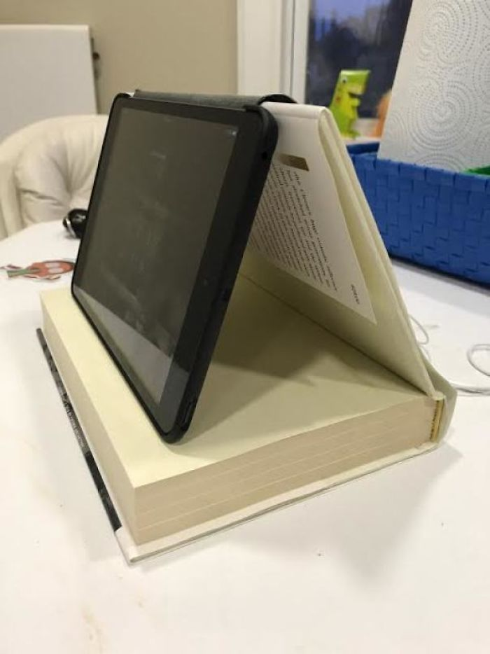 Use A Big Hardcover Book To Prop Up A Small Tablet So It Can Be More At A Screen Level. Just Thought Of This Earlier Today