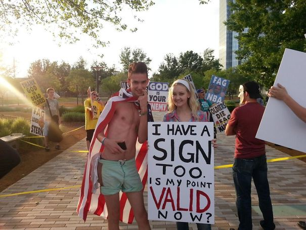So I Went To A Westboro Baptist Church Protest... (I'm The One On The Left)