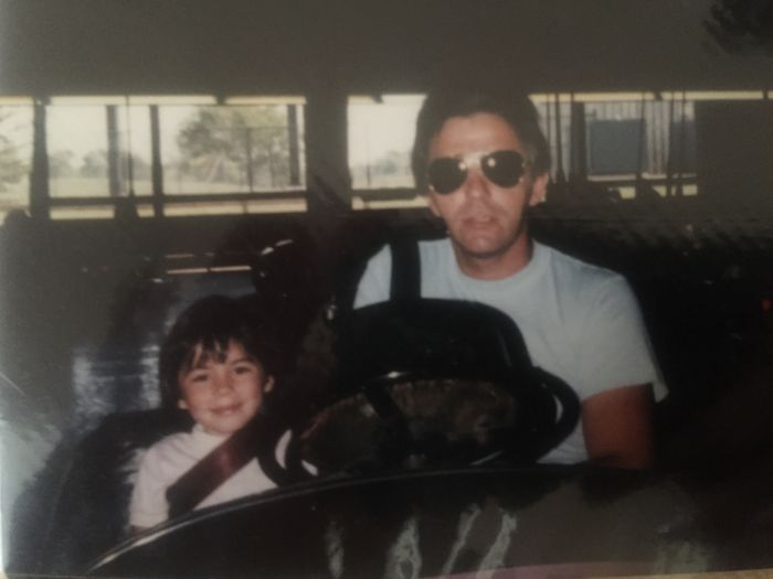 My Dad And His Badass Aviators Don't Take No Shit On The Bumper Cars. Circa 1985