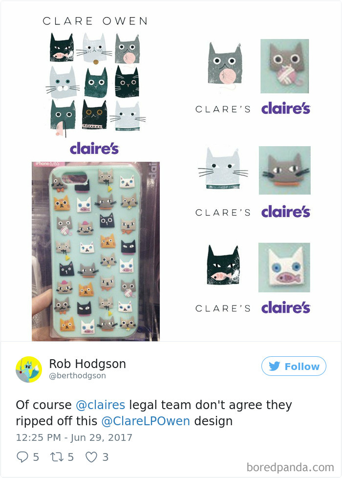 Claire's Ripped Off This Clare Louise Owen Design