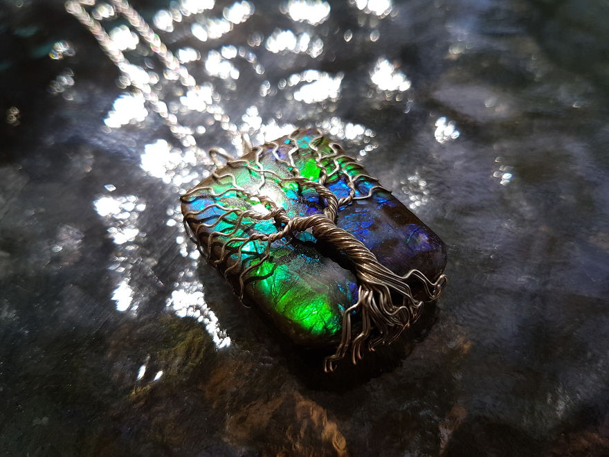 Tree Of Life Necklace With Ammolite Gemstone
