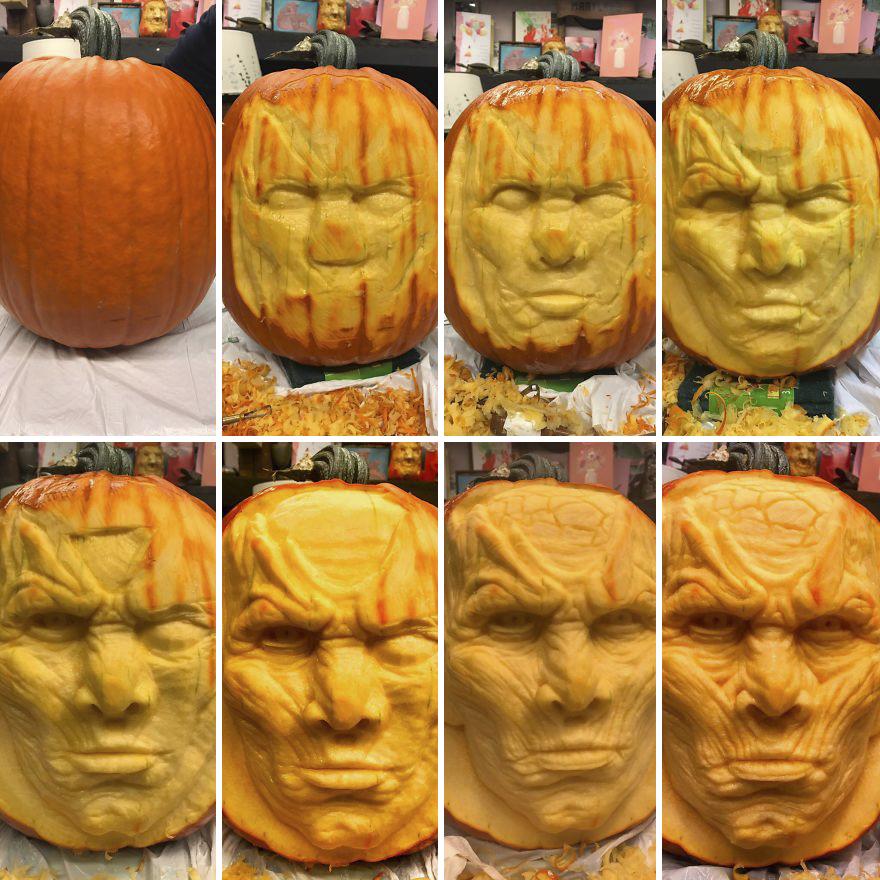 artist carves got night king in pumpkin bored panda