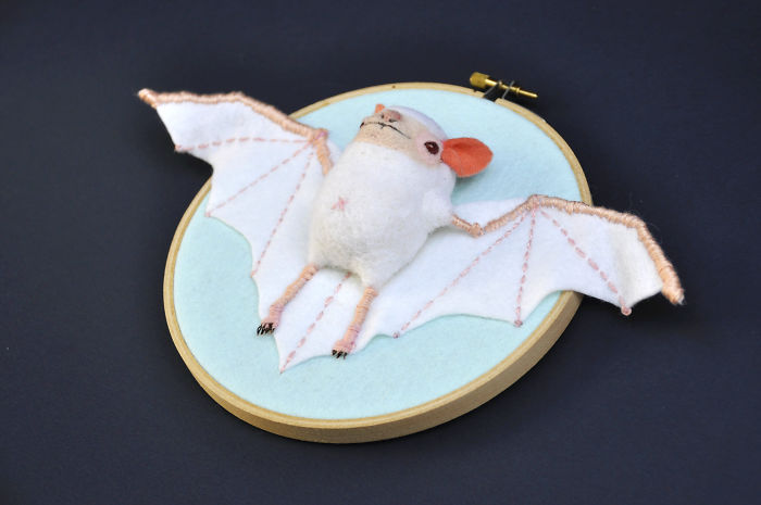 I Made These Faux Bat Taxidermies By Needle Felting And Hand Embroidery