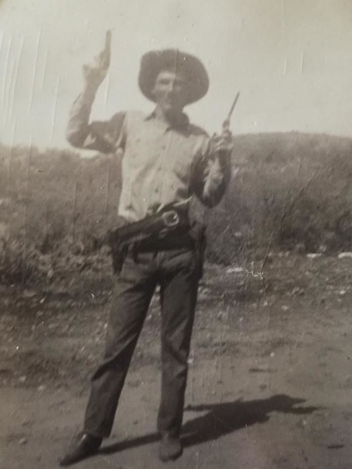 A Real Cowboy! My Dad Bought His First Ranch At 18, But Here He's Goofing Around For The Camera. Circa 1949