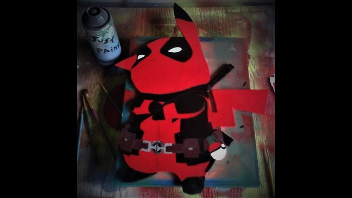 Pikapool Pikachu Deadpool Crossover Spray Paint Art On Wood