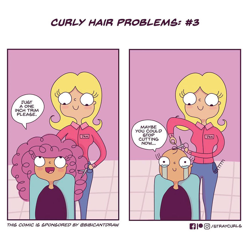 I Create Comics Based On Curly Hair Problems