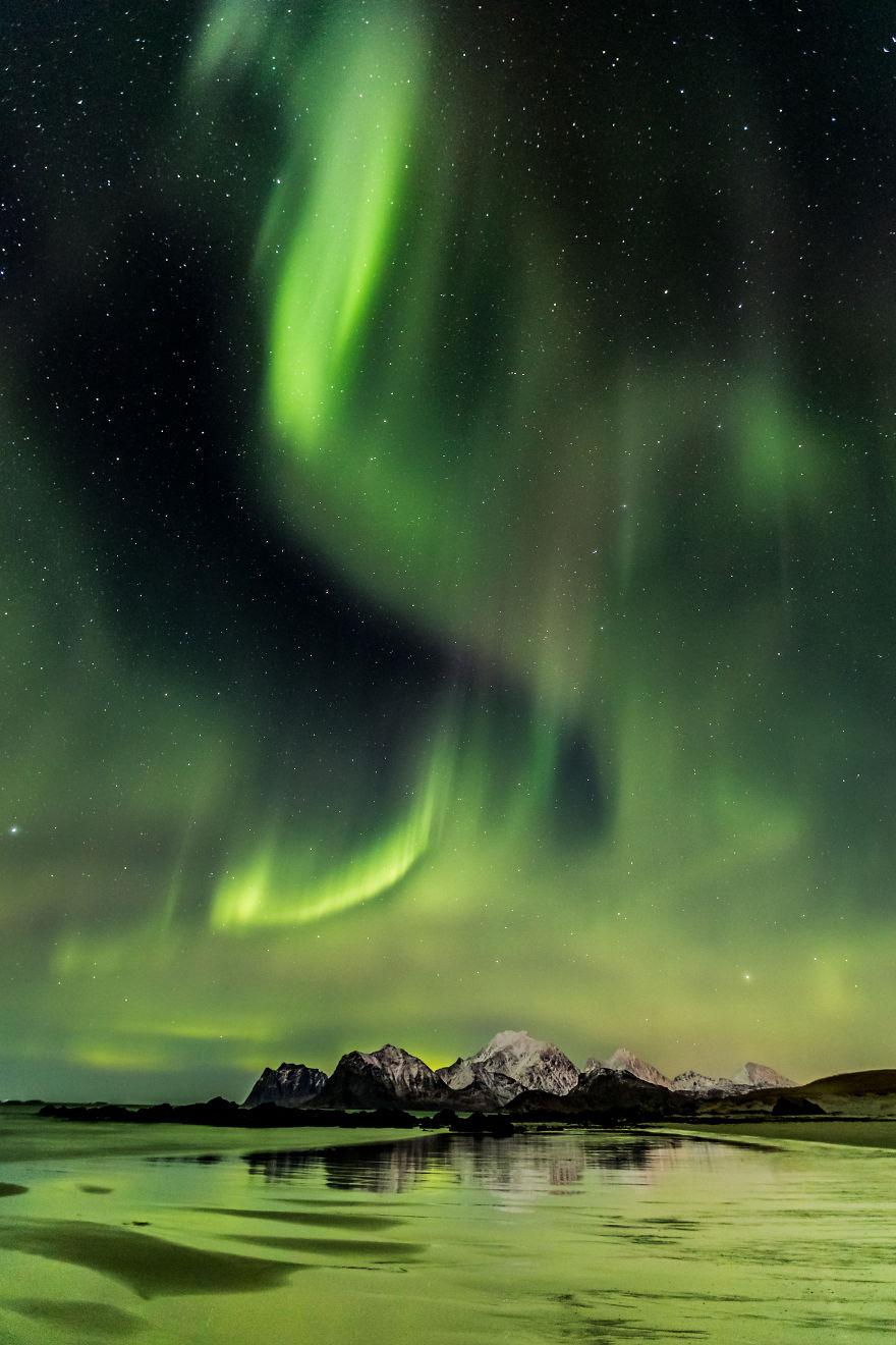 Nightscape | Northern Lights On Lofoten Beach, Norway - Angélique Michel