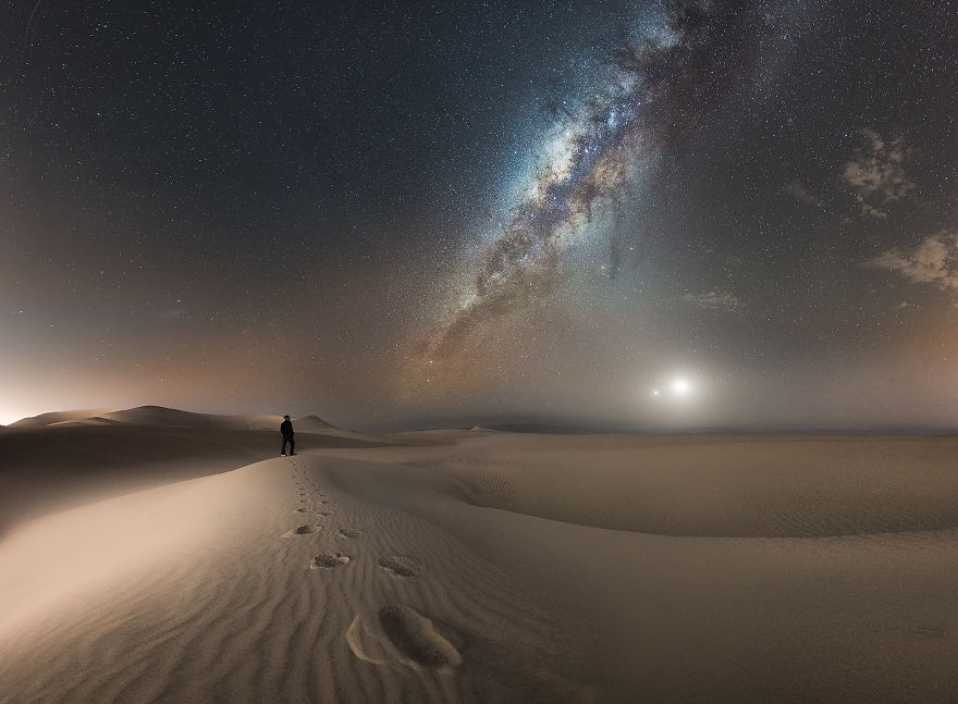 Nightscape | Human, Milky Way, Moon And Venus Conjunction, Peru - Camilo Andrés Jaramillo Slva / Pna