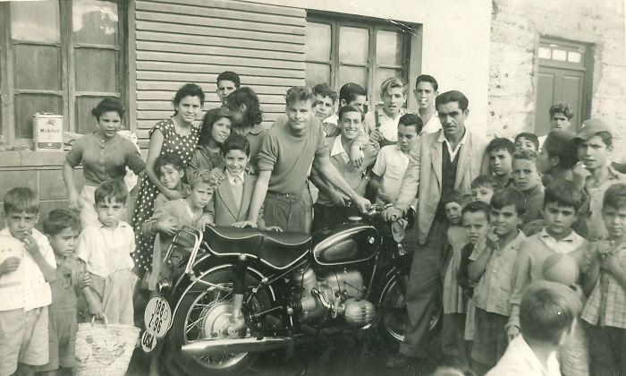 "How Cool Was My Dad? The Beginning Of Paul's European Grand Tour On His BMW, 1960. His Note On Back Of Photo: ""Children In The Little Fishing Town Of Puerto De La Cruz - Tenerife (Island) Turning Out For The Arrival Of The Motorcycle"""