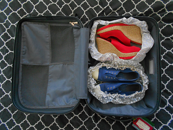 Reuse Your Old Shower Caps For Shoe Storage