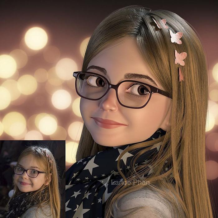 Художник-пребразования-чужие-3d-мультфильмы внештатный-Phan, Художники, превращающие фотографии в 3D-мультяшек