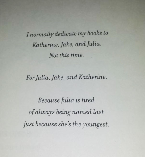 That Moment When You're Already Amused And It's Only The Dedication Page