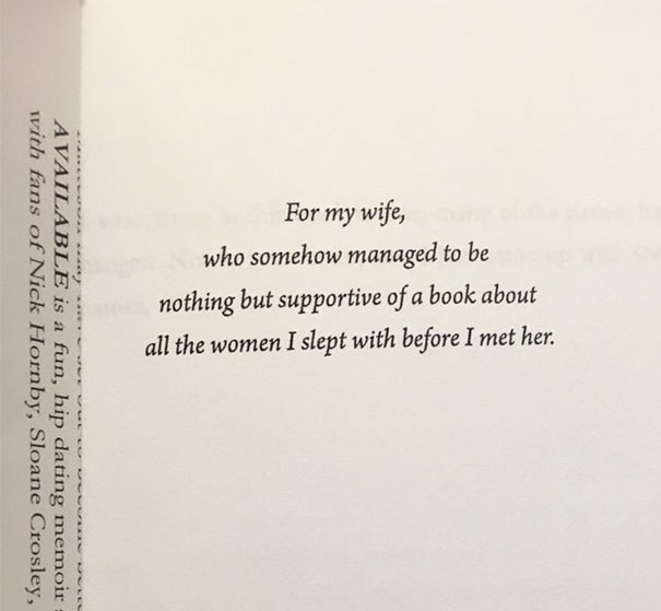 I've Never Before Chosen A Book Based Simply On The Dedication