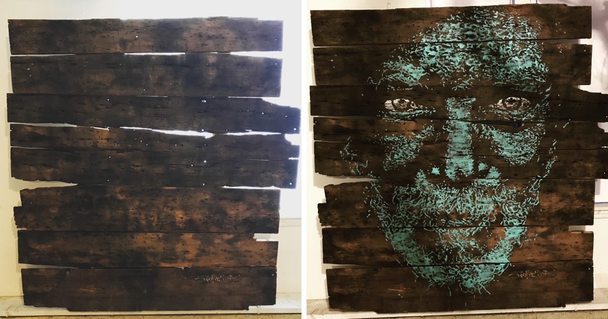 I Created A Portrait On 100-Year-Old Barn Wood
