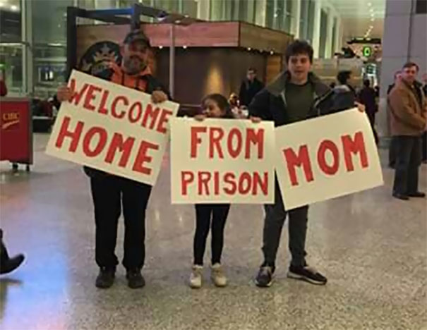 My Friend Just Got Home From A Trip. This Was Her Family Greeting Her At The Airport
