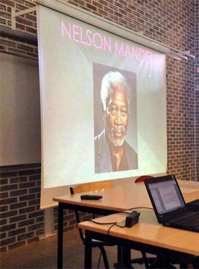 Tenían que hacer una presentación sobre Nelson Mandela y...