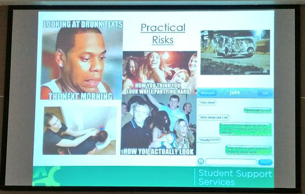 Talking Harm Reduction On Canadian Psis Meanwhile A Presentation Slide On Alcohol's Practical Risks