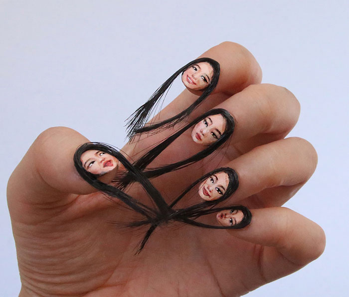 Hair Selfie Nails Art Tiny Faces Designdain 6