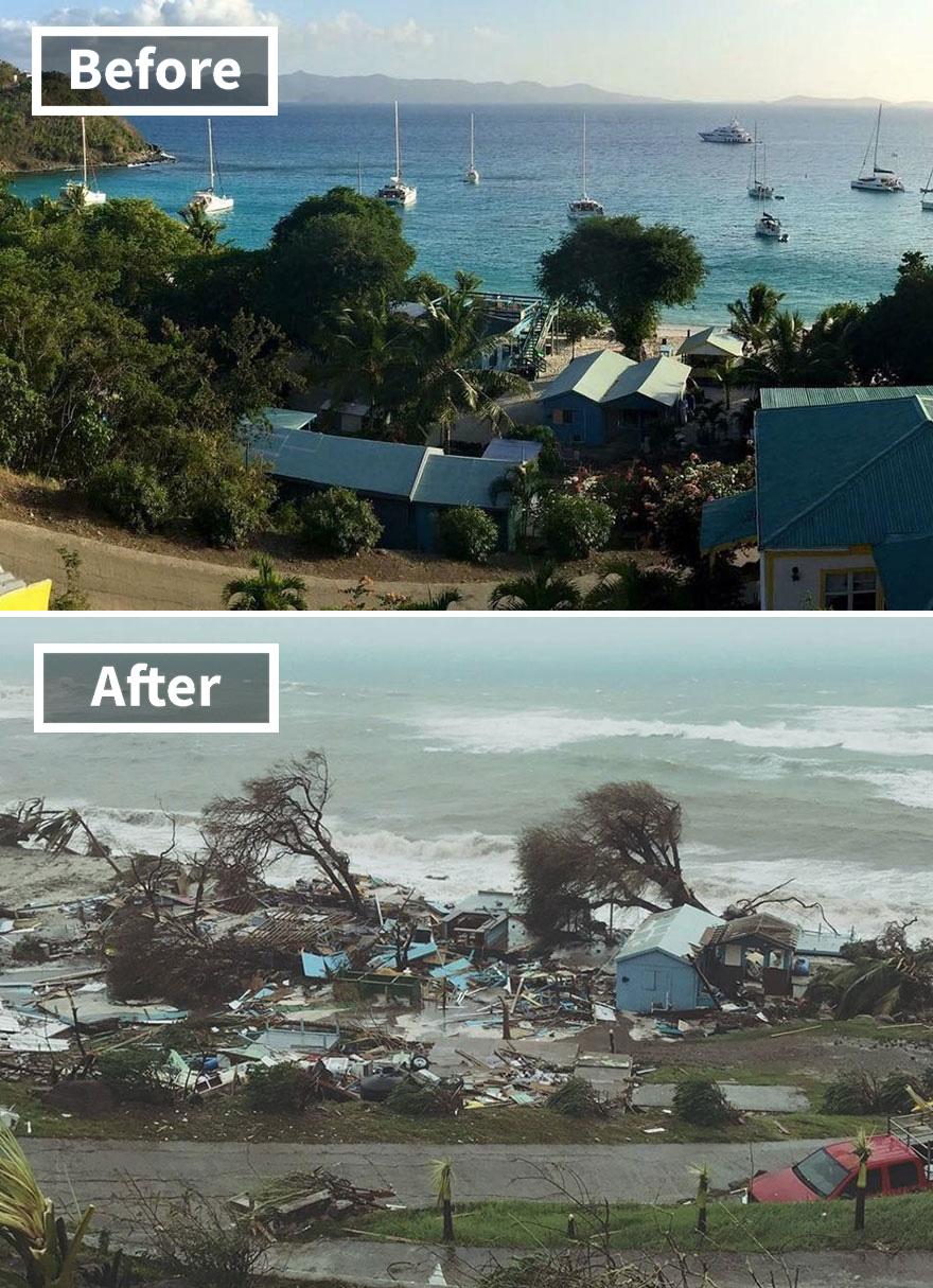 Популярный барьер на улице Айвана на лодке Йост Ван на Британских Виргинских островах (до и после повреждения Ирмы)