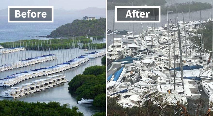 Залив Паракиты (до и после ирмы)