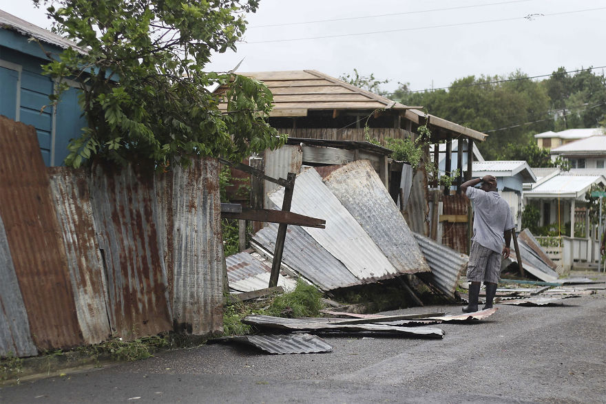 A Man Surveys The Wreckage On His Property After The Passing Of Hurricane Irma, In St. John's, Antigua And Barbuda