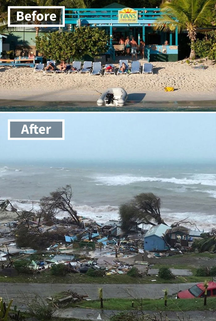 The Popular Ivan's Stress Free Bar On Jost Van Dyke In The British Virgin Islands (Before And After Irma Damage)