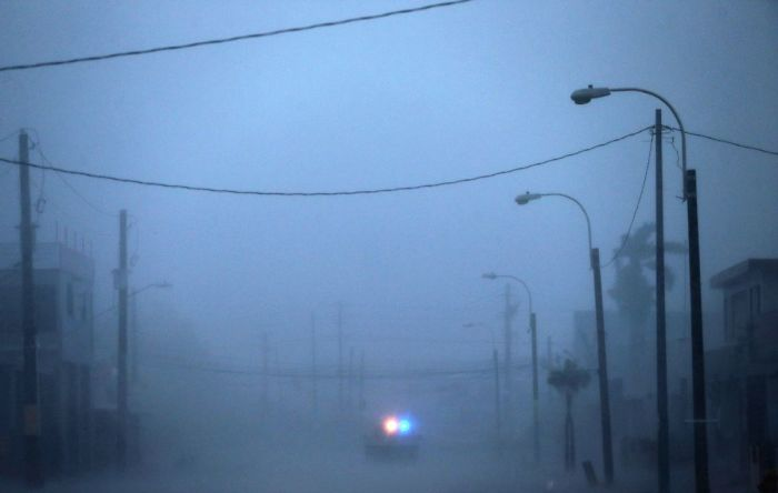 A Lone Police Car On Patrol During The Passing Of Hurricane Irma On September 6, 2017 In Fajardo, Puerto Rico