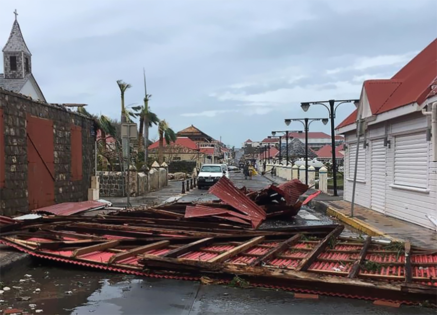Wreckage In A Street Of Gustavia In Saint-barthelemy In The Caribbean
