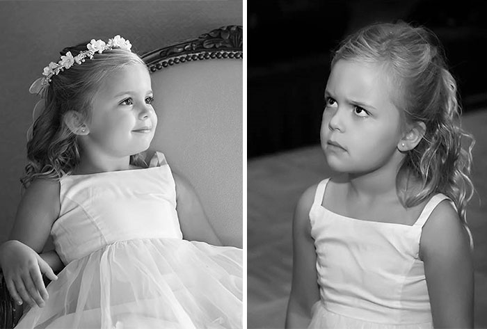 Flower Girl Before The Wedding. Flower Girl At The End Of The Reception. It Was A Long Day For Her