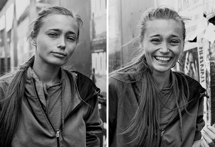 10 Retratos de Extraños Antes Y Después De Que Una Fotógrafa Los Besara