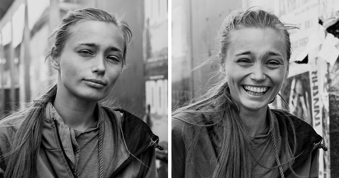 10 Portraits Of Strangers Before & After Photographer Kissed Them