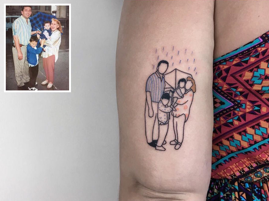47879bd95 Artist Turns Your Most Nostalgic Childhood Pics Into Stylish Tattoos So You  Always Have Them On Your Skin | Bored Panda