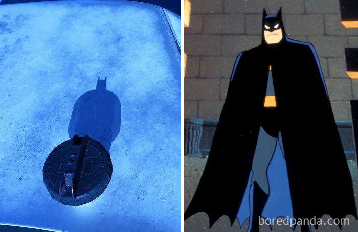 La tapa del depósito tiene sombra de Batman