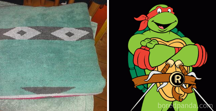 Unexpected Ninja Turtle While Folding Towels