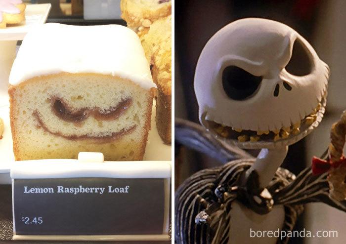 This Lemon Raspberry Loaf Looks Like Jack Skellington From Nightmare Before Christmas