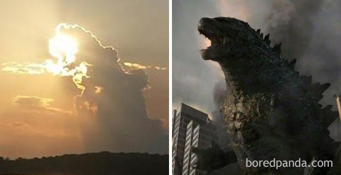 Parece Godzilla comiéndose el sol
