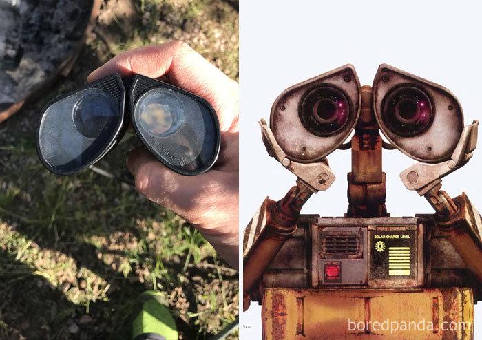 Prismáticos que parecen los ojos de Wall-E