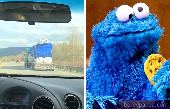 This Truck Carrying Rolls Of Plastic Looks Like Cookie Monster