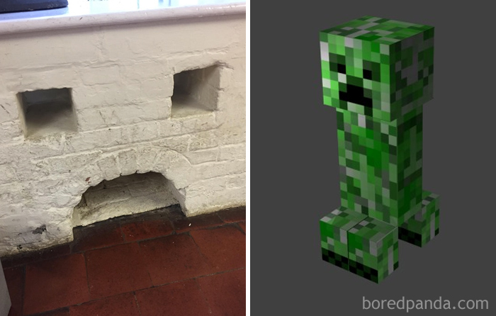 This Wall Looks Like A Minecraft Creeper