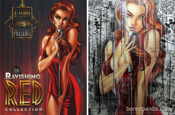 Original Work By J. Scott Campbell (Left) And Benjamin Spark's Work (Right)