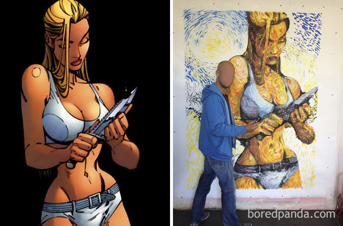 Original Work By J.Scott Campbell (Left) And Benjamin Spark's Work (Right)