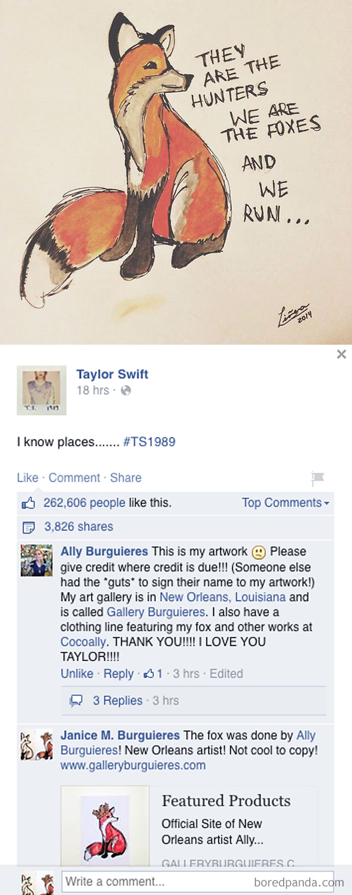 Taylor Swift Posted A Fan Art Which Later Turned Out To Be Art Thievery From Artist Ally Burguieres