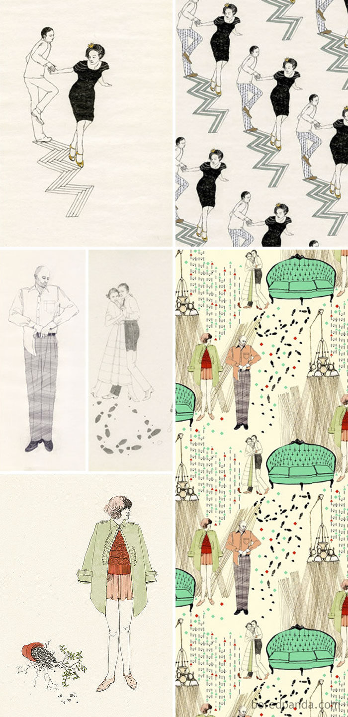 Samantha Beeston Had Stolen Artist's Lauren Nassef's Drawings (Left) And Used Them In Her Own Pattern Designs (Right)