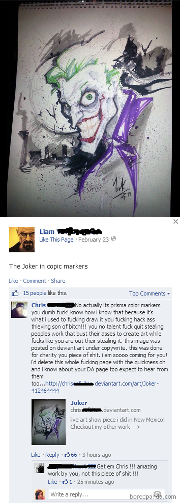 Art Thief Whose Been Stealing And Selling Prints On Deviantart Finally Gets Spotted Out On Facebook And Called Out
