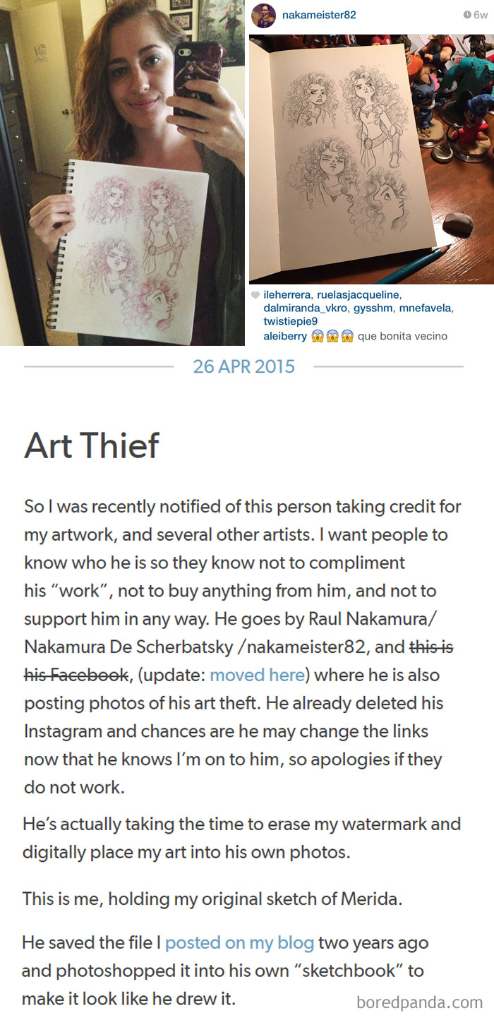 Art Thief Posting Work All Over The Internet As His Own Is Caught Red-Handed By The Artist And Called Out